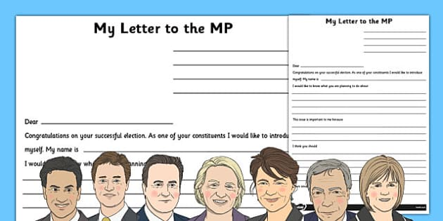 A Letter to Your New MP Writing Frame - letter, new, mp, writing