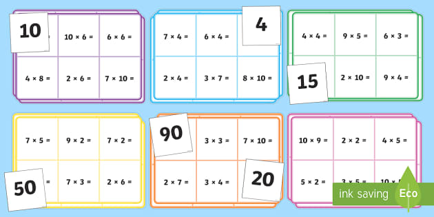 Multiplication bingo 2 3 4 5 and 10 times table for 10 times table game