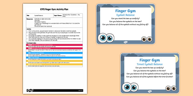 EYFS Balancing Eyeballs Finger Gym Plan and Prompt Card Pack