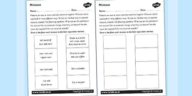 Mixtures Worksheet Mix Mixing Investigation Science