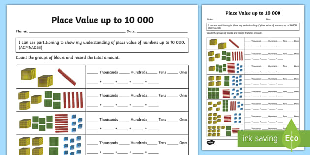 place value up to 10 000 activity sheet australian curriculum. Black Bedroom Furniture Sets. Home Design Ideas