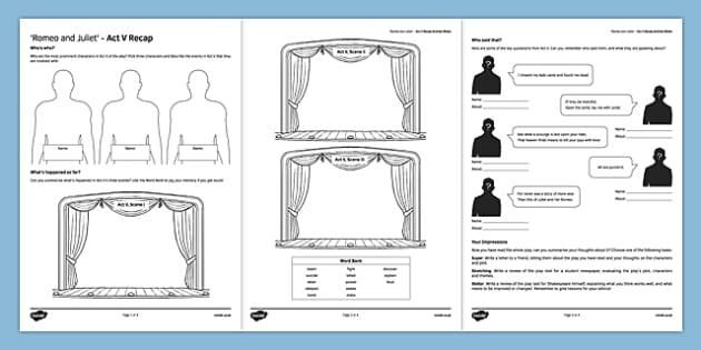 Romeo and Juliet Act V Activity Sheet, worksheet