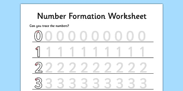 number formation worksheet 0 to 9 maths numeracy initial. Black Bedroom Furniture Sets. Home Design Ideas