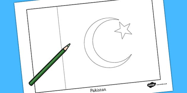 Pakistan Flag Colouring Sheet  countries country geography