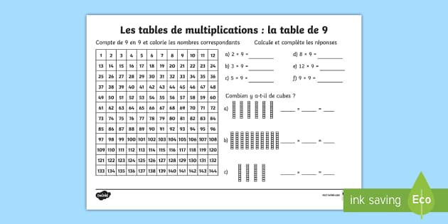 Fiche de calcul la table de 9 les multiplications for Les table de multiplications
