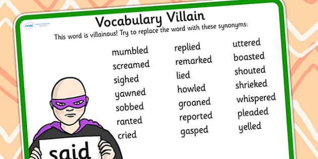 Vocabulary Villain Said Word Mat - said, word mat, topic words, key words, word list, keyword, words, key word mat, themed word mat, themed word list