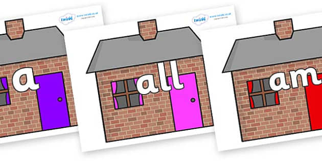 Foundation Stage 2 Keywords on Brick houses - FS2, CLL, keywords, Communication language and literacy,  Display, Key words, high frequency words, foundation stage literacy, DfES Letters and Sounds, Letters and Sounds, spelling