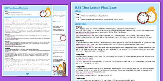 KS1 Time Lesson Plan Ideas - ks1, time, lesson plan, ideas