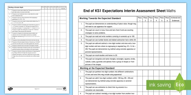 End of KS1 Expectations Interim Assessment Sheet - Maths