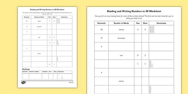 Reading And Writing Numbers To 20 Worksheet