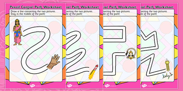Diwali Pencil Control Path Worksheets - fine motor skills, hindu