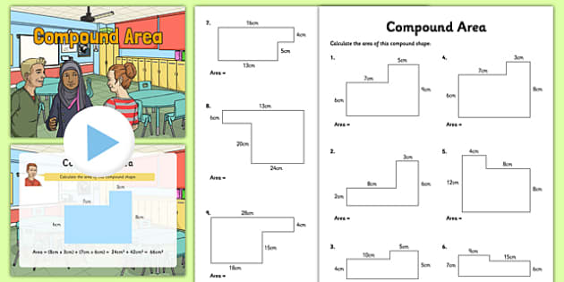 Area of compound shapes worksheet easy
