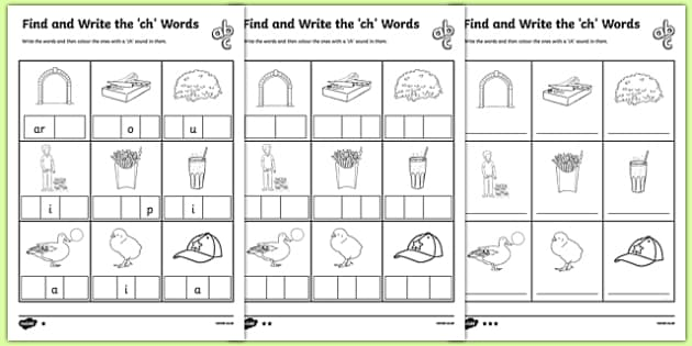 find and write the ch words differentiated activity sheet pack. Black Bedroom Furniture Sets. Home Design Ideas