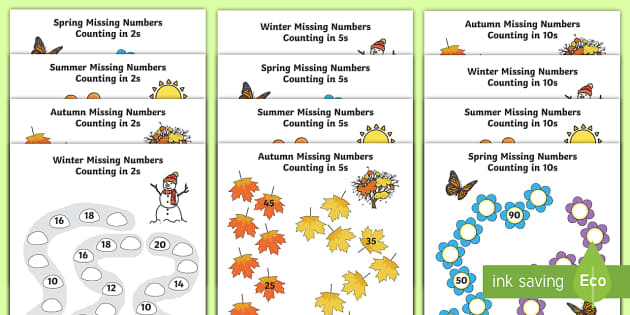 Seasons Path Missing Numbers Counting in 2s, 5s and 10s ...