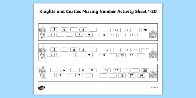 knights and castles missing number worksheet 1 20 numbers. Black Bedroom Furniture Sets. Home Design Ideas