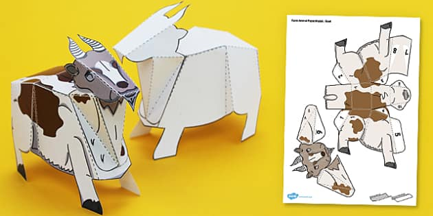 Twinkl Farm Animal Colouring Pages : Farm animal paper model goat farm animal paper model goat