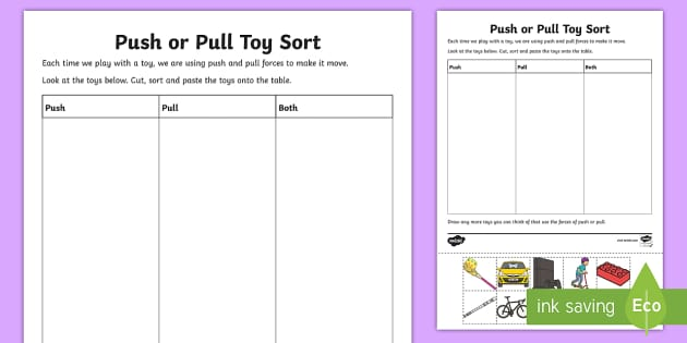push or pull toy sort activity sheet push and pull forces. Black Bedroom Furniture Sets. Home Design Ideas