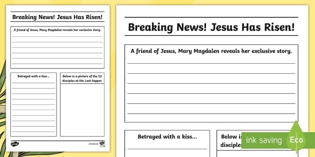 Easter Story Newspaper Writing Template  Cfe EasterEaster