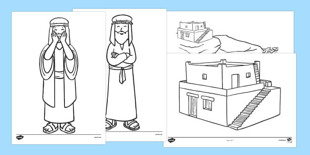 The wise man and the foolish man story colouring sheets usa for Wise man foolish man coloring page