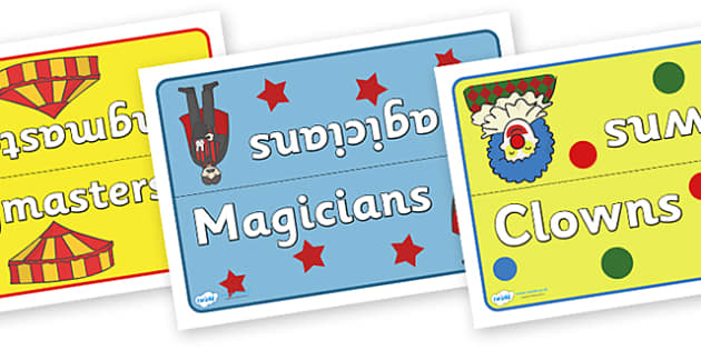 Circus Table Group Signs - circus, clown, juggler, acrobats, big top, group signs, group labels, group table signs, table sign, teaching groups, class group, class groups, table label, magician, monkey, ring master, trapeze, horse, elephant, lion tam