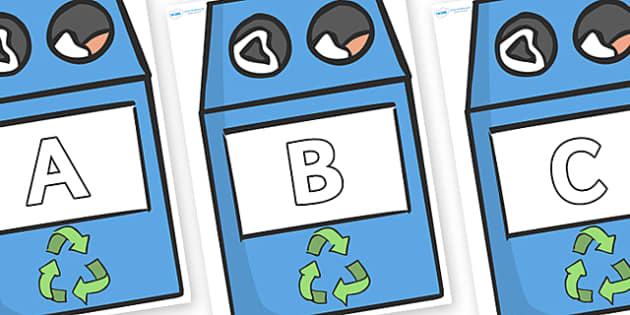 A-Z Alphabet on Eco Bins - A-Z, A4, display, Alphabet frieze, Display letters, Letter posters, A-Z letters, Alphabet flashcards