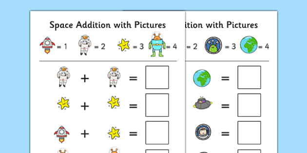 Space Themed Addition With Pictures Activity Sheet Pack