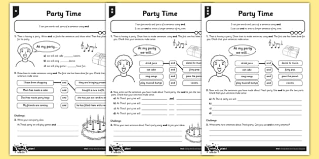 Party Time Differentiated Activity Sheet Pack - GPS, sentence, joining words and clauses, and, grammar, worksheet