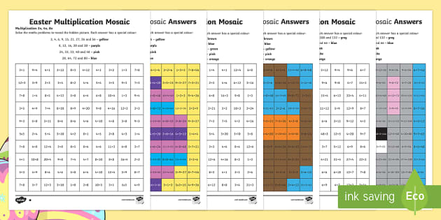 easter multiplication mosaics differentiated activity sheets. Black Bedroom Furniture Sets. Home Design Ideas