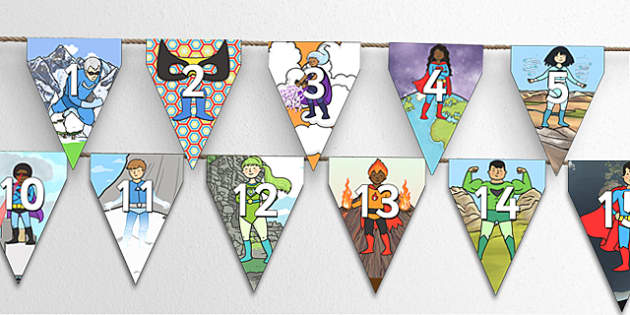 Superheroes Themed 0 31 Bunting - superhero themed, superhero bunting, 0-31 on bunting, numberline bunting, superhero numberline bunting, bunting