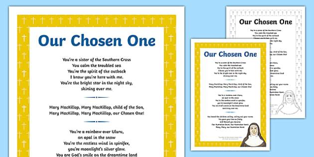Mary MacKillop  Our Chosen One Song Lyrics-Australia