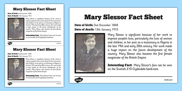 Scottish Significant Individuals Mary Slessor Fact Sheet - Scottish significant individual, Christian, missionary, Nigeria