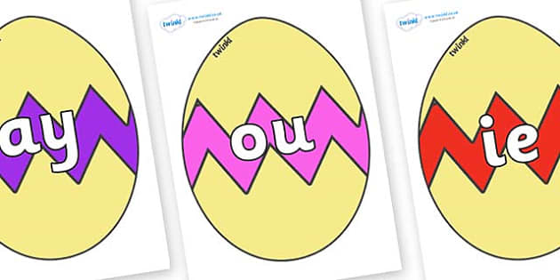 Phase 5 Phonemes on Easter Eggs (Cracked) - Phonemes, phoneme, Phase 5, Phase five, Foundation, Literacy, Letters and Sounds, DfES, display