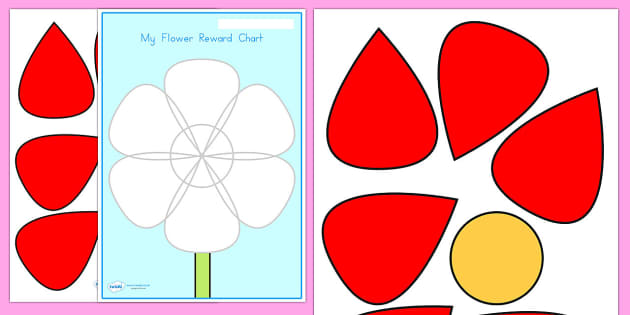 Flower Petal Reward Chart - flower, petal, reward, award, display