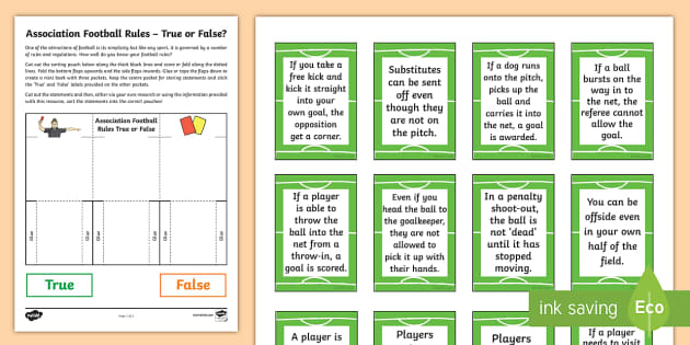 Soccer Rules Sheet: True Or False Sorting Activity