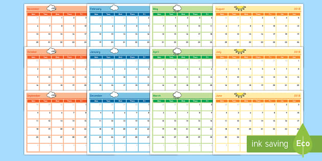 Academic Year Monthly Calendar Planning Template