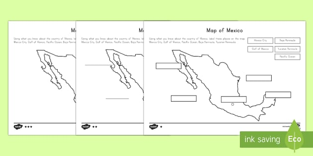 differentiated map of mexico differentiated labeling worksheet. Black Bedroom Furniture Sets. Home Design Ideas