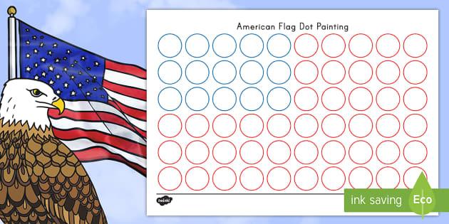 Flag Day USA Flag Dot Painting Activity Sheet