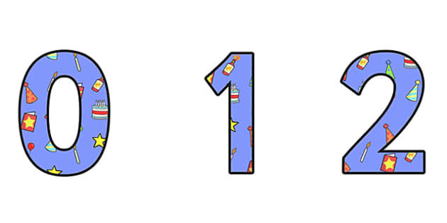 Birthday Themed A4 Display Numbers 2 - Birthday, Birthday Themed, Birthday Themed Display Numbers, A4 Display Numbers 2, A4 Birthday Display