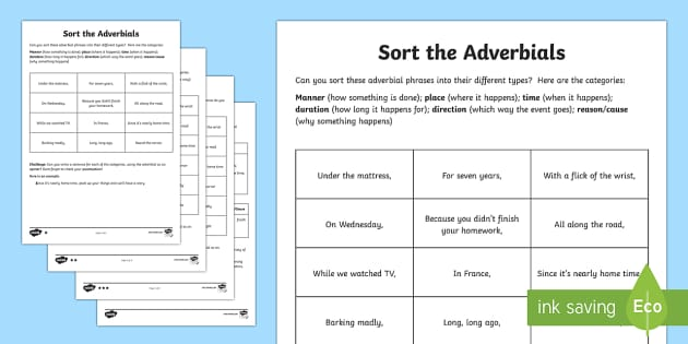 sort the adverbials differentiated activity worksheet. Black Bedroom Furniture Sets. Home Design Ideas