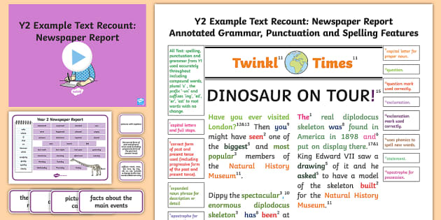 Y2 Recounts: Newspaper Report Model/ Example Text - Example