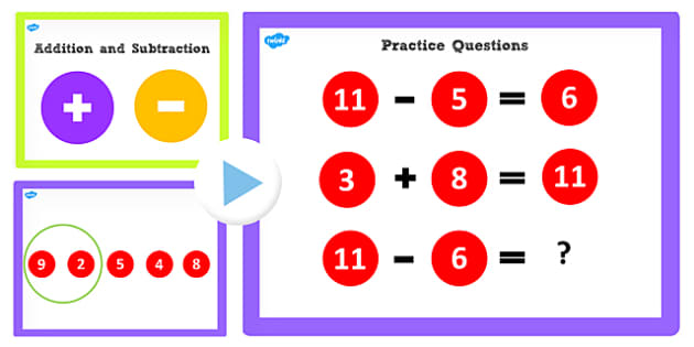 Addition and Subtraction Facts to 11 PowerPoint - add, subtract