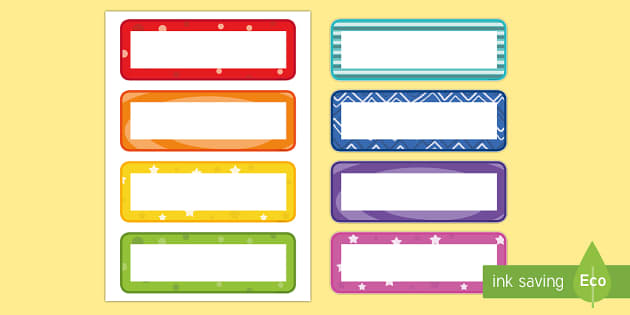 Back to School Primary Resources, name labels, self-registration