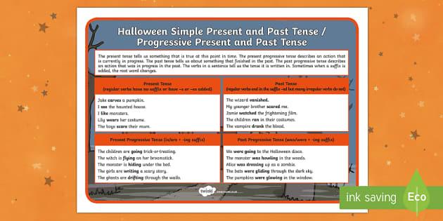 Halloween SPaG Present, Past and Progressive Tenses Word Mat
