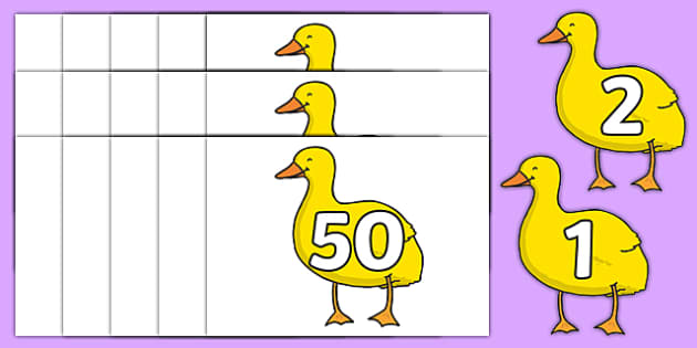 Numbers 0-50 on Yellow Duck to Support Teaching on Brown Bear, Brown Bear - 0-50, foundation stage numeracy, Number recognition, Number flashcards, counting, number frieze, Display numbers, number posters