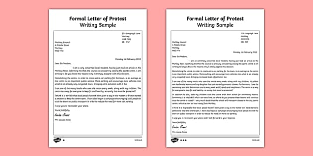 How to write a protest letter