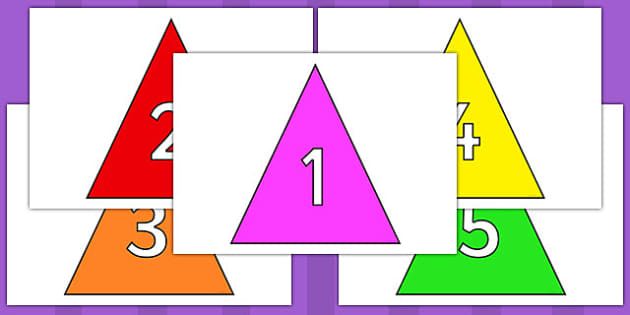 Numbers 0-31 on Triangles - 0-31, foundation stage numeracy, Number recognition, Number flashcards, counting, number frieze, Display numbers, number posters