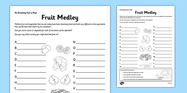 Fruit Medley Activity Sheet - fruit, vegetable, a-z, fact of the day, activity, worksheet