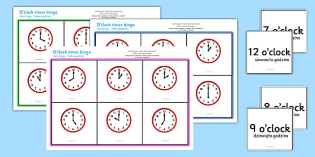 O'clock Times Bingo Polish Translation - polish, Time bingo, time game, Time resource, Time vocaulary, clock face, Oclock, half past, quarter past, quarter to, shapes spaces measures