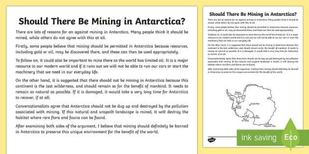 should antarctica be exploited essay Human impacts on antarctica and threats to the environment - mining and oil  it is unlikely that they could ever be exploited commercially.