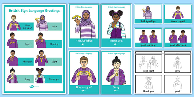 British Sign Language BSL Greetings Display Pack - british ...